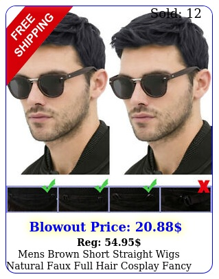 mens brown short straight wigs natural faux full hair cosplay fancy party wi