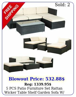 pcs patio furniture set rattan wicker table shelf garden sofa w cushion blac