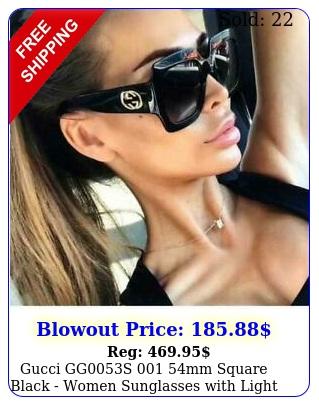 gucci ggs mm square black  women sunglasses with light grey len