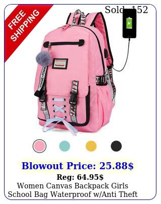 women canvas backpack girls school bag waterproof wanti theft usb port bookba