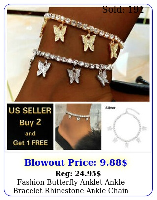 fashion butterfly anklet ankle bracelet rhinestone ankle chain women crysta