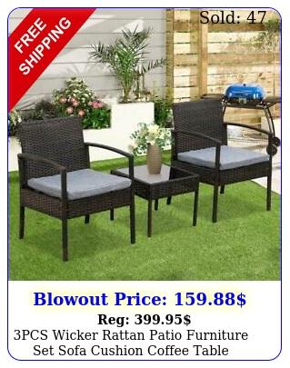 pcs wicker rattan patio furniture set sofa cushion coffee table garden outdoo