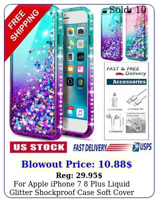 apple iphone  plus liquid glitter shockproof case soft cover accessorie