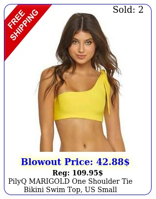 pilyq marigold one shoulder tie bikini swim top us smal