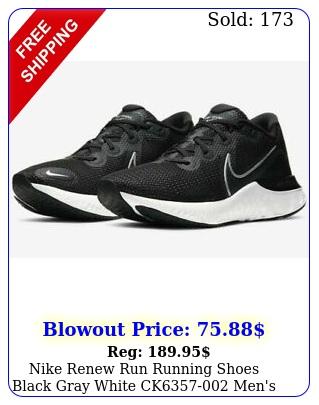 nike renew run running shoes black gray white ck men'