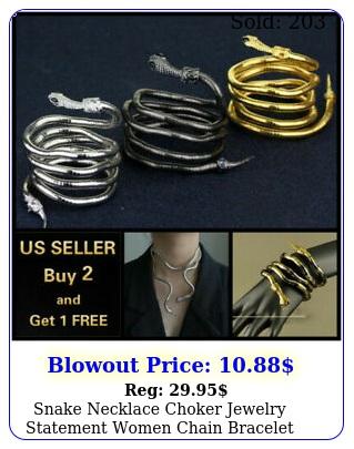 snake necklace choker jewelry statement women chain bracelet gold silver blac