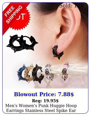 men's women's punk huggie hoop earrings stainless steel spike ear studs earring