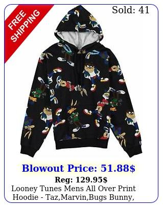 looney tunes mens all over print hoodie tazmarvinbugs bunny daff