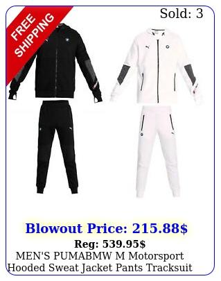 men's pumabmw m motorsport hooded sweat jacket pants tracksuit black whit