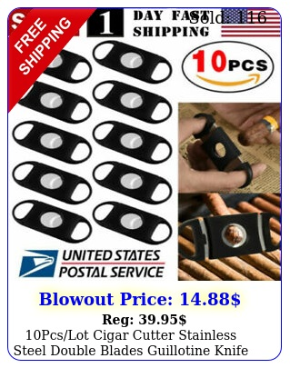 pcslot cigar cutter stainless steel double blades guillotine knife scissor