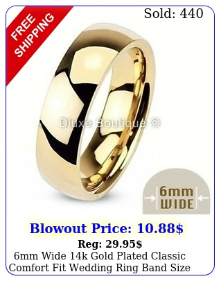 mm wide k gold plated classic comfort fit wedding ring band siz