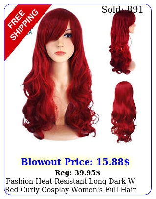 fashion heat resistant long dark w red curly cosplay women's full hair wig