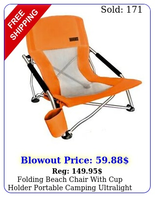folding beach chair with cup holder portable camping ultralight compact orang