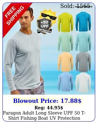 paragon adult long sleeve upf  tshirt fishing boat uv protection s