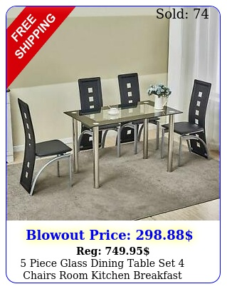 piece glass dining table set chairs room kitchen breakfast furnitur