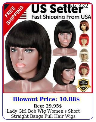 lady girl bob wig women's short straight bangs full hair wigs cosplay part
