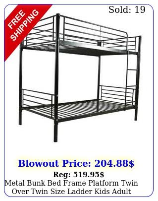 metal bunk bed frame platform twin over twin size ladder kids adult dorm bedroo