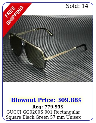 gucci ggs rectangular square black green mm unisex sunglasse