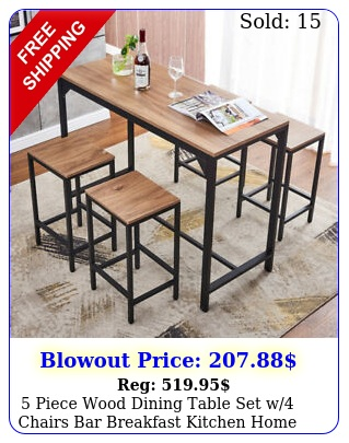 piece wood dining table set w chairs bar breakfast kitchen home furniture u