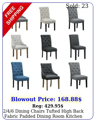 dining chairs tufted high back fabric padded dining room kitchen furnitur