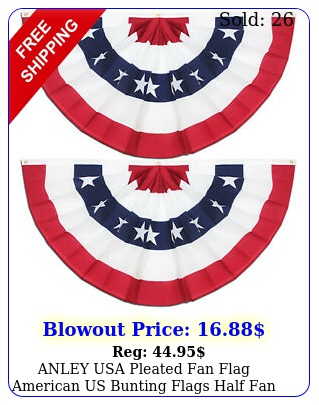 anley usa pleated fan flag american us bunting flags half fan banner pac