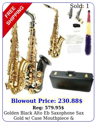 golden black alto eb saxophone sax gold w case mouthpiece accessories styl