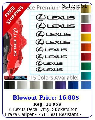 lexus decal vinyl stickers brake caliper  heat resistant  size