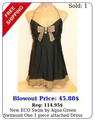 eco swim by aqua green swimsuit one piece attached dress size black br