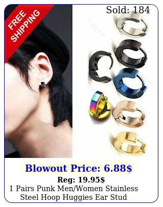 pairs punk menwomen stainless steel hoop huggies ear stud earrings gothi