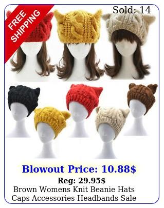 brown womens knit beanie hats caps accessories headband