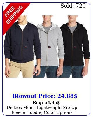 dickies men's lightweight zip up fleece hoodie color option