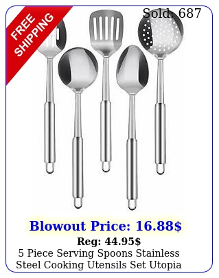 piece serving spoons stainless steel cooking utensils set utopia kitche