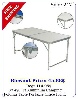 ' '' ft aluminum camping folding table portable office picnic bbq des