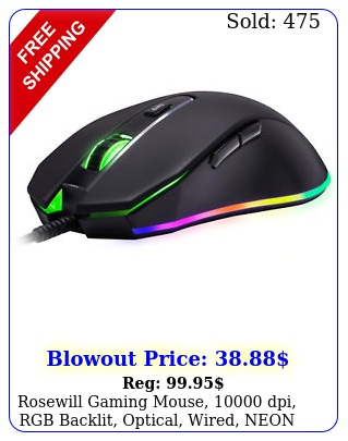 rosewill gaming mouse dpi rgb backlit optical wired neon