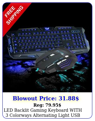 led backlit gaming keyboard with colorways  alternating light usb wired gam
