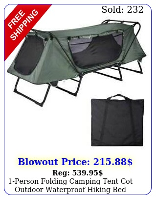 person folding camping tent cot outdoor waterproof hiking bed carry bag lb