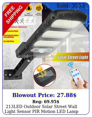 led outdoor solar street wall light sensor pir motion led lamp remote contro