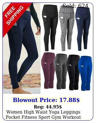 women high waist yoga leggings pocket fitness sport gym workout athletic pant