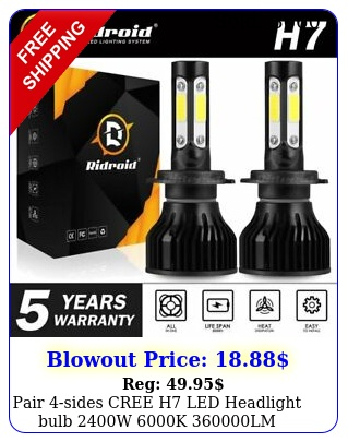 pair sides cree h led headlight bulb w k lm replacement bulb j
