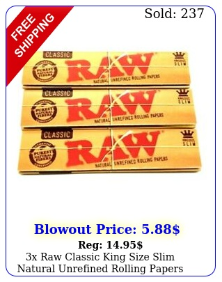 x raw classic king size slim natural unrefined rolling papers pack us
