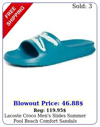 lacoste croco men's slides summer pool beach comfort sandal