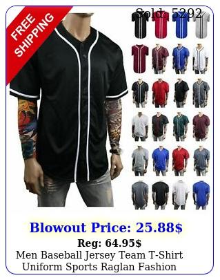 men baseball jersey team tshirt uniform sports raglan fashion hipster casua