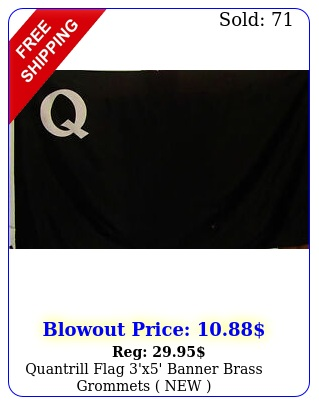 quantrill flag 'x' banner brass grommets