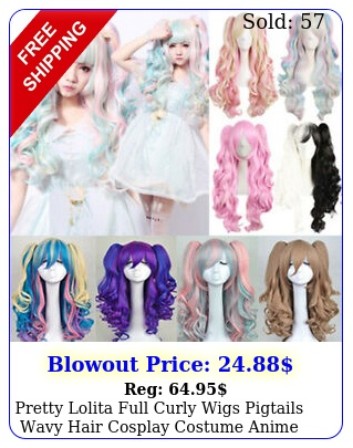 pretty lolita full curly wigs pigtails wavy hair cosplay costume anime part