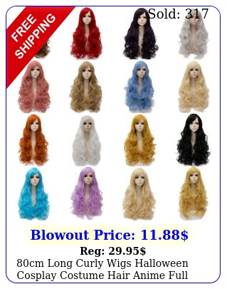 cm long curly wigs halloween cosplay costume hair anime full wavy party wi