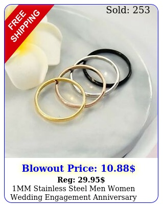 mm stainless steel men women wedding engagement anniversary ring band siz