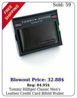 tommy hilfiger classic men's leather credit card bifold wallet dark brow