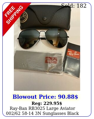 rayban rb large aviator  n sunglasses black frames authenti