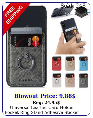 universal leather card holder pocket ring stand adhesive sticker cell phon