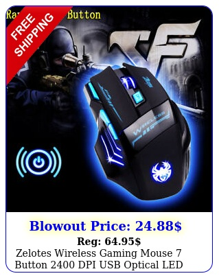 zelotes wireless gaming mouse button dpi usb optical led light game mic